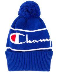 Champion ポンポン ニット帽 - ブルー