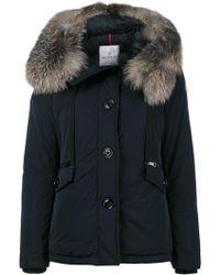 Moncler - Fox Fur Trimmed Short Fitted Parka Jacket - Lyst