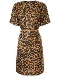 Louis Vuitton Vestido corto con estampado de leopardo - Marrón