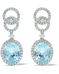 Kiki McDonough 18kt White Gold Signatures Blue Topaz And Diamond Interlinking Stud Top Earrings - Multicolour