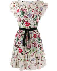 RED Valentino Cherry Blossom Print Short Dress - Multicolour