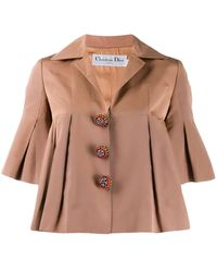 Dior Manteau court à design évasé - Marron