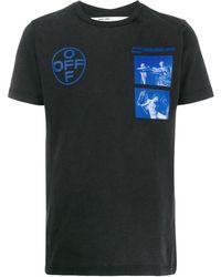 Off-White c/o Virgil Abloh T-shirt Met Print - Zwart