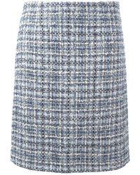 Lanvin チェック柄ツイードスカート - ブルー