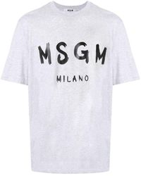 MSGM Gray T-shirt With Paint Brushed Logo