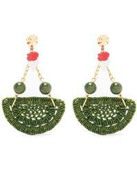 Amir Slama Crochet Earrings - Green
