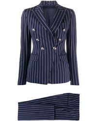 Tagliatore Talicya Striped-pattern Suit - Blue