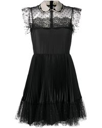 RED Valentino Peter Pan Collar Tulle Dress - Black