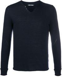 Zadig & Voltaire Monastir Henley-neck Sweater - Blue
