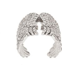 Monan - 18kt White Gold And Diamond Wing Cocktail Ring - Lyst