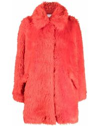 MSGM Oversized Faux-fur Coat - Red