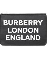 Burberry Logo Print Leather Zip Pouch - Black