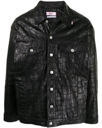 Martine Rose クロコエンボス シャツジャケット - ブラック