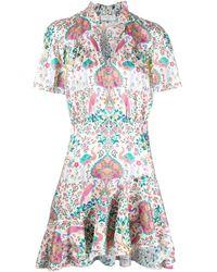 Sandro Bedrucktes Kleid mit Rüschen - Weiß
