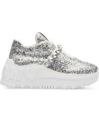 Miu Miu Glitter-embellished Platform Sneakers - Metallic