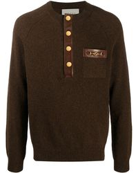 Gucci Leather-trim Knitted Sweater - Brown