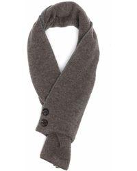 Moorer Wraparound Button-up Cashmere Scarf - Grey