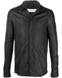 Giorgio Brato レザーシャツジャケット - ブラック