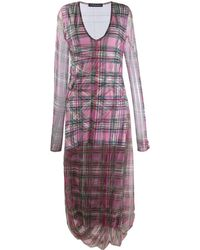 Y. Project Long-sleeve Plaid Dress - Pink