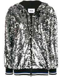 MSGM Sequin Hooded Jacket - Металлик