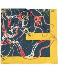 Maison Margiela グラフィック スカーフ - ブルー