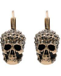 Alexander McQueen Серьги С Декором Skull И Кристаллами - Металлик