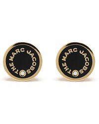 Marc Jacobs Logo-print Stud Earrings - Metallic