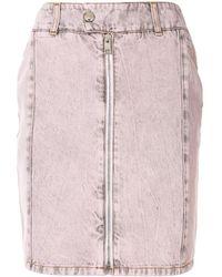 MSGM Zip Detail Acid Wash Skirt - Pink