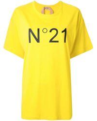 N°21 ロゴ Tシャツ - イエロー