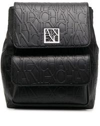 Armani Exchange ロゴエンボス バックパック - ブラック