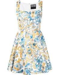 Versace Jeans Couture バロッコプリント フレアドレス - ブルー