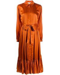 Temperley London サテン シャツドレス - オレンジ