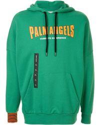 Palm Angels Logo Print Oversized Hoodie - Зеленый