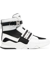 Balmain - Black And White Logo Print Mesh Leather High-top Trainers - Lyst