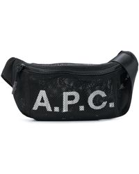 A.P.C. メッシュ ロゴ ベルトバッグ - ブラック