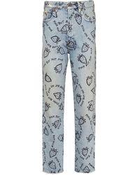Miu Miu Strawberry Print Cropped Jeans - Blue
