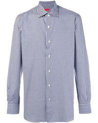 Isaia Gingham Button Shirt - Синий