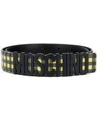 Moschino - ロゴバックル チェック ベルト - Lyst