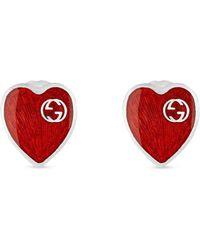 Gucci Pendientes con diseño de corazón y logo GG - Rojo