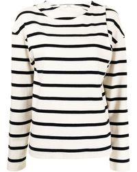 Goen.J Double-layered Stripe Jersey Top - White