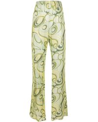 Raf Simons Pantalon en soie à imprimé Hippie - Vert