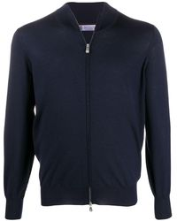 Brunello Cucinelli High-neck Zip-through Jumper - Blue