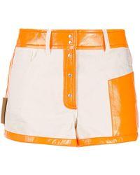 Courreges Contrasting Cotton & Vinyl Shorts - Multicolor