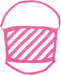 Off-White c/o Virgil Abloh Striped Print Face Mask - Pink