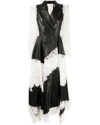 Alexander McQueen レースパネル レザードレス - ブラック