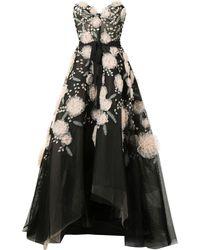 Marchesa フローラル イブニングドレス - ブラック