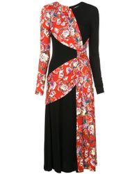 Prabal Gurung - Floral Contrast Long-sleeve Dress - Lyst