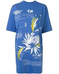 Marcelo Burlon Printed Short T-shirt Dress - Blue