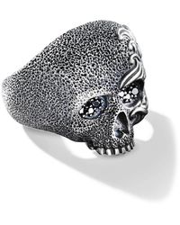 David Yurman Waves Diamond Skull Ring - Multicolor
