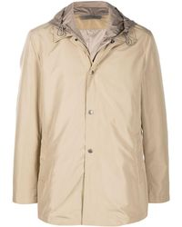 Canali Detachable Hood Raincoat - Natural